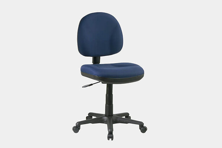 armless chair in blue color