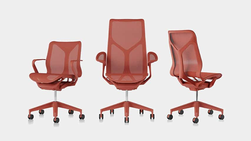 3 ergonomic chairs are displayed