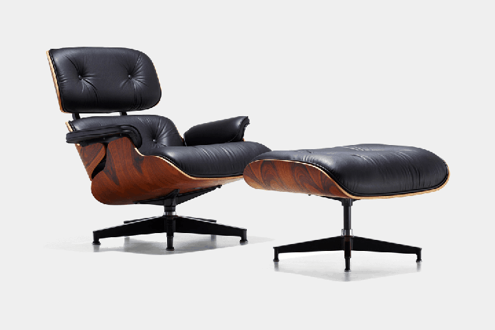 Eames Lounge reading chair with ottoman